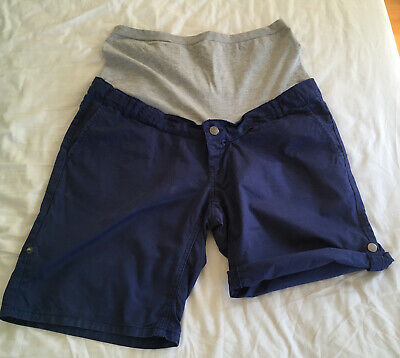 MAMALICIOUS MATERNITY BLUE OVER BUMP SHORTS W/ TURNUP SIZE L (sold as 12-14)