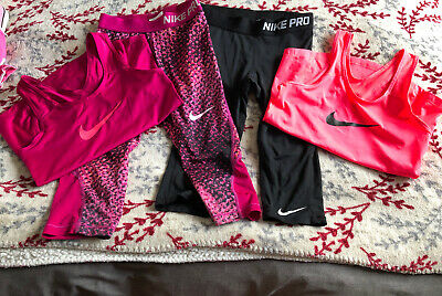 Nike PRO Dri-Fit Leggings & Sports Top Set X2 Activewear Girls Size A 8-10
