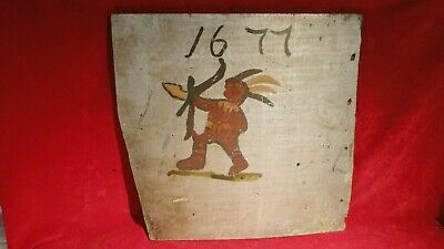 Rare Colonial /Revolutionary War Era Wooden Tavern Sign With Painted Indian 1677