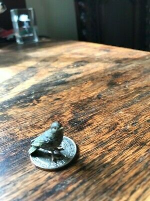 Small Antique Vintage Cold Painted Bronze Green Parrot One Inch Long