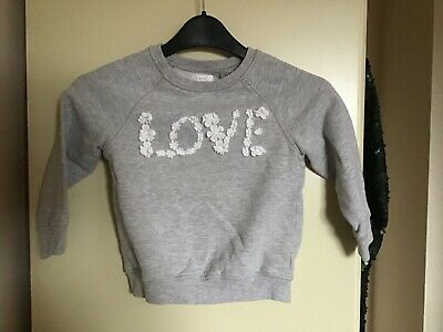 NEXT GREY GIRLS LOGO SWEATSHIRT AGE 5 excellent condition