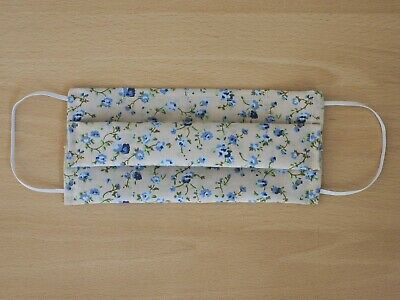 Handmade blue floral polycotton face mask with nose bridge wire