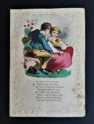 1850 antique VALENTINE DAY CARD handcolored victorian art embossed border