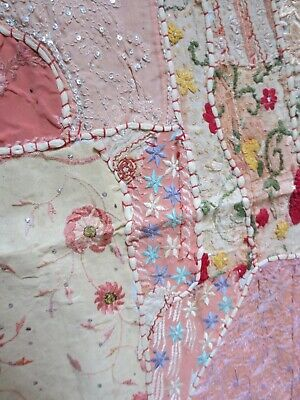 Vintage Sari pieces patchwork quilt/cover,pink pieces hand stitched couching,