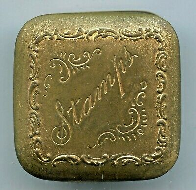 Vintage Brass Victorian Style Stamp Holder Engraved Great Condition