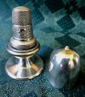 Antique Silver Thimble And Needle Holder, Caddy, Container.