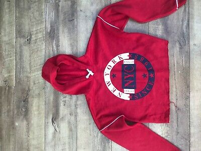 girls New Look red cropped hoodie with image on the front age 12-13  yrs