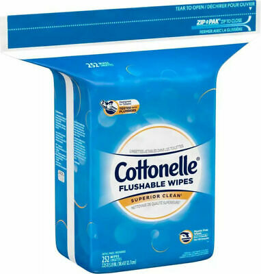 Cottonelle Flushable Wipes Resealable Pack 252 Wipes Hypoallergenic NEW