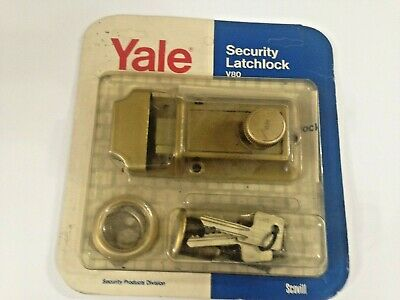 "Yale V80 Security Latchlock Lock Latch Dead Bolt 1 1/8 To 2 1/4 ""  Nos Usa"