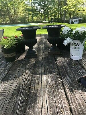 """Two Vintage Small Cast Iron Garden Urns 8 1/2"""" Tall"""