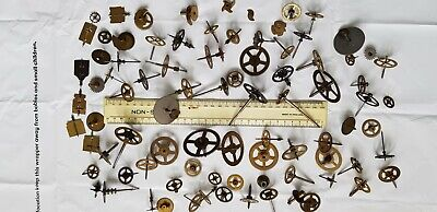 old brass clock parts / spares / cogs / gears / wheels , various sizes