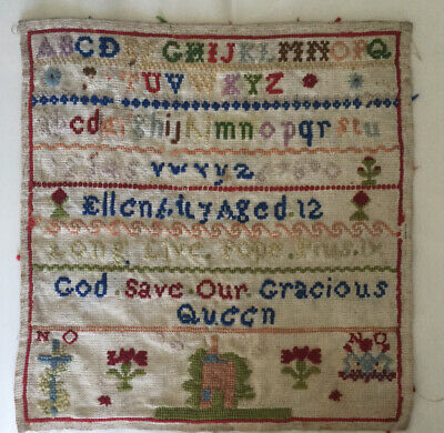 Antique Victorian child's sampler by ellen aged 12 - Long Live Pope  Pius1X