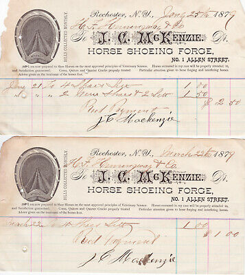 Rochester, NY Business Receipts, 1870s, Lot of 9