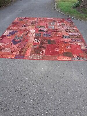 Indian kantha double quilt throw