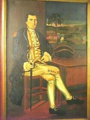 Old And Wonderful Painting Of Revolutionary War Officer With Sword Oil On Canvas