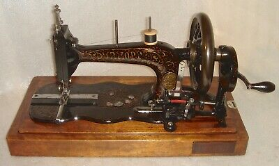 1860 Antique Durkopp Schutz Marke Fiddle Base Crank Hand Sewing Machine Working