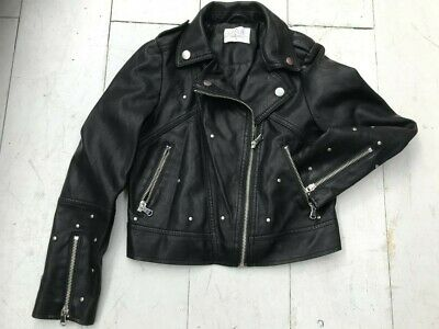 Candi Couture Girls Faux Leather Black Biker Jacket Used Age 9  Yrs