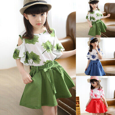 Girls Toddler Kids Round Neck Cold Shoulder Tops+skirt Printed Cute Outfit Set