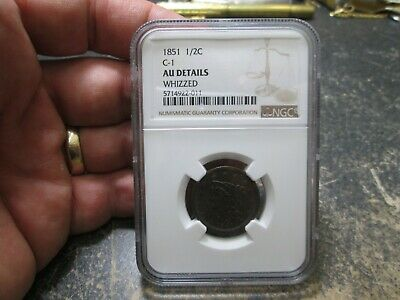 1851 C-1 US Half Cent Coin IN NGC AU ABOUT UNCIRCULATED