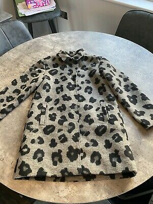 Girls Next Size 10years Black & Grey Animal Print Winter Coat - Excellent Cond