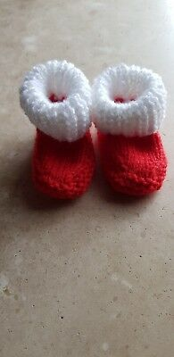 Hand knitted newborn baby 0-3 months red and white football bootees