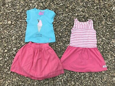 3 x HARDLY WORN GIRLS JOULES DRESS TOP SKIRT BUNDLE SIZE 3-4 4 YEARS 100% COTTON