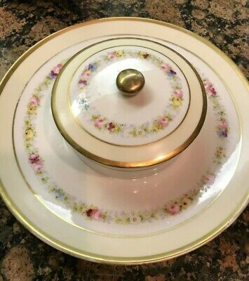 VTG Hand Painted Nippon Porcelain Serving Dish Snack Dips Dish with Lid Floral