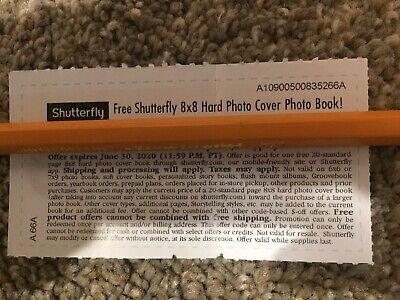 Shutterfly 8x8 Hard Cover Photo Book Code Monopoly Tickets AB4A -  Exp 6/30/20