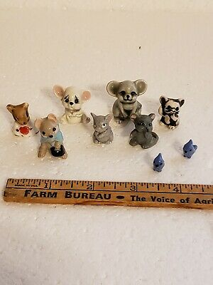 VINTAGE  MINIATURE MICE WITH DETAILED FACES and 2 Birds