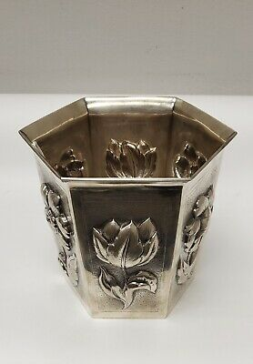 Tiffany $ Co. Sterling Silver Hexagonal Floral Vase