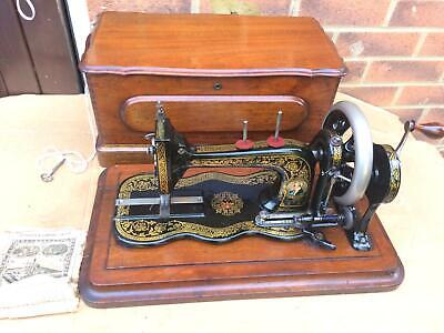 Rare Antique Bradbury Fiddle Base Handcrank Sewing Machine similar to Singer 12K