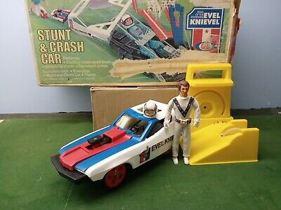 Vintage 70s Ideal Evel Knievel Stunt Crash Car with original box