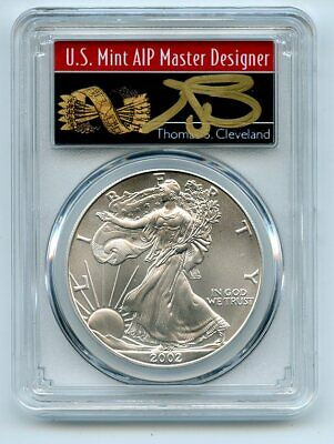 2002 $1 American Silver Eagle Dollar PCGS MS70 Thomas Cleveland Arrows