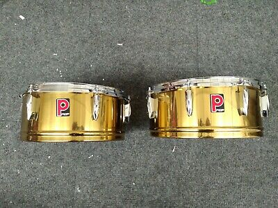 """Premier Brass Timbales 13"""" & 14"""" both 6"""" deep - Good Condition - late 70's."""