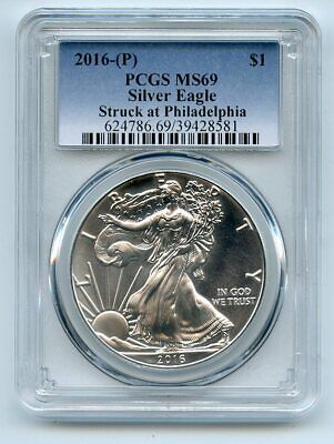2016 (P) $1 American Silver Eagle 1oz Dollar PCGS MS69 Struck in Philadelphia