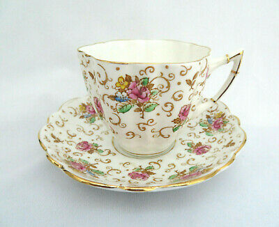 "Victoria Bone China ENGLAND ""English Rose"" Floral Cup and Saucer"
