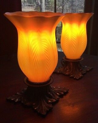 Gorgeous Quezal Art Glass Lamps Signed by Artist and Matching Pair