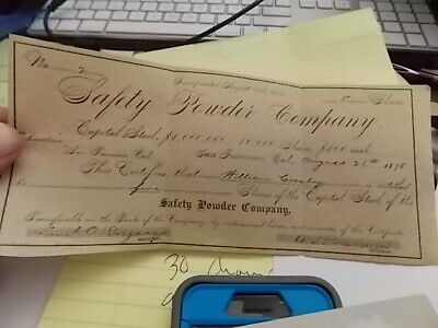 1878 Safety Powder Company Stock Certificate. San Francisco, California