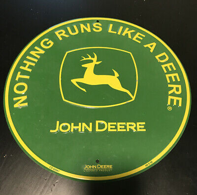 """Authentic John Deere ...Nothing Runs Like A Deere 12"""" Tin Sign - Used"""
