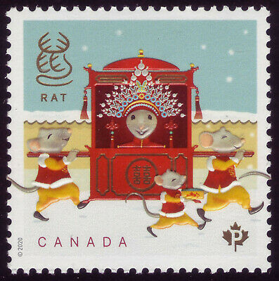 "CANADA 2020 Year of the Rat Sheet single ""P"" The bride on way to nuptials MNH"