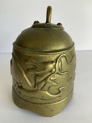 VINTAGE Antique CHINESE ASIAN EMBOSSED BRASS BELL w DRAGON Chinese Hindu India