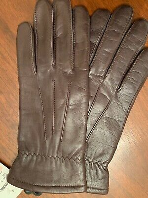 Women's NEW Brown Genuine Leather Lined Gloves Size L FOWNES Elastic Wrist NWT🤩
