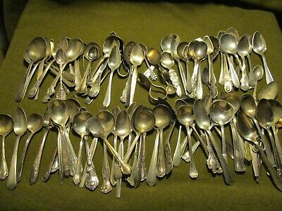 100 Silver Plate Small SPOON type item Lot. poor-good #128