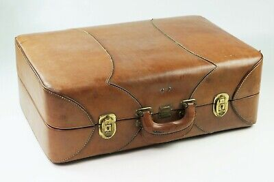Valise ancienne cuir vintage koffer quality leather suitcase