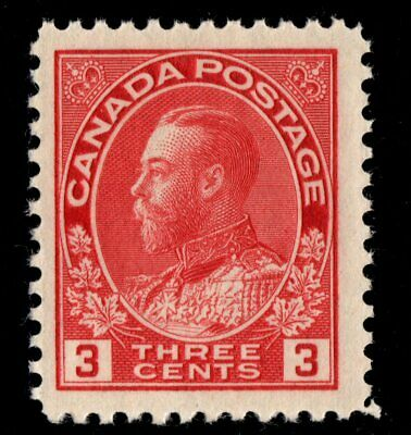 #109c die II  George V 3c Canada mint never hinged well centered