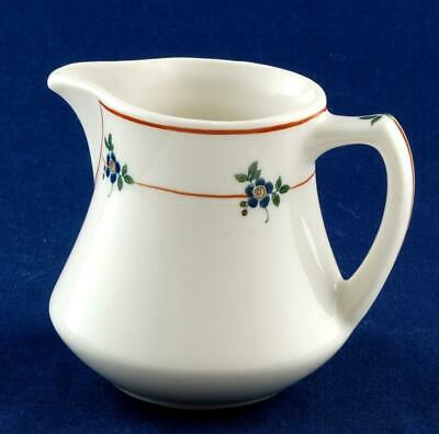 Syracuse China OPCO Restaurant Ware Creamer Red Lines Blue Flowers Old Ivory