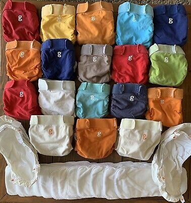 Huge Lot Of 18 Cloth gDiapers, Medium/Large + 12 g Cloth Inserts