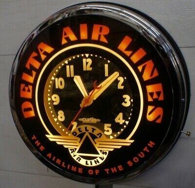 """Delta Air Lines Neon Clock 22""""  By  Curtis"""