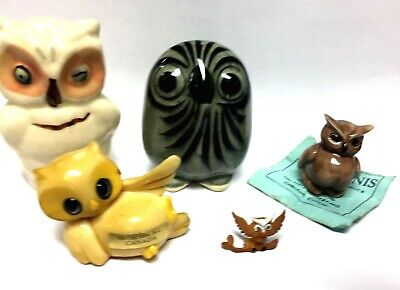 Shawnee Shaker Vintage Collection Of 6 Owls, W/  Hand Painted Rare Venougeh Owl