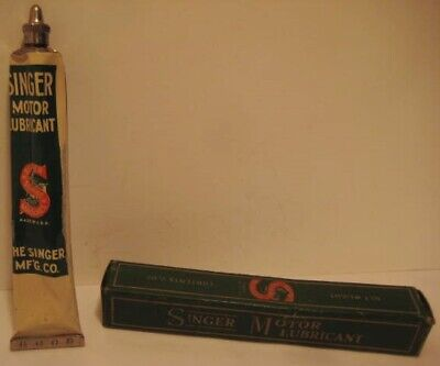 Old Singer Sewing Machine Motor Lubricant in metal Tube in BOX